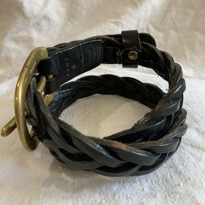 Dkny Accessories - Retro DKNY black leather woven belt small 90s